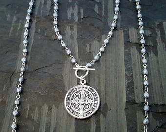Long Silver Old World Coin Pendant Wrap Around Necklace, St Benedict Pendant, Convertible Bracelet, Bead Necklace Pendant, Religious Jewelry