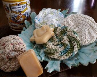 Crocheted 100% Cotton Bath Poufs