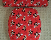 Mickey Mouse Red Toilet Seat & Tank Lid Cover Set