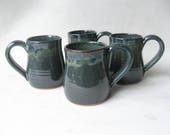 Pottery Mugs 10 oz Set of 4, Coffee Mugs, Set of Handmade Pottery Mugs, Set of Pottery Coffee Mugs, 10 oz Mugs, Stoneware Mugs