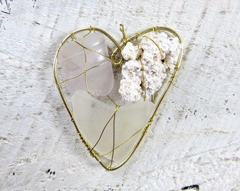 Frosty Seaglass and Coral Heart  Suncatcher Ornament