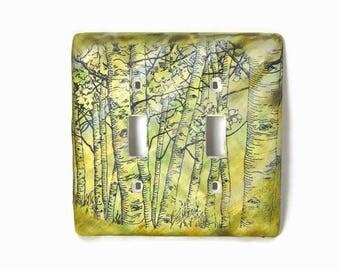 Nature Switch Cover, Birch Tree Switch Plate, Double Light Switch Plate, Nature Art, Light Switch Cover, Wall Art, Tree Art