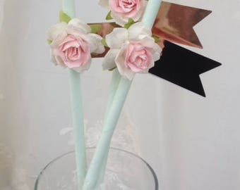 Birthday Decoration Shabby Chic Mint Straws for Birthday Party Birthday Ornament  Set of Eight for Tea Party