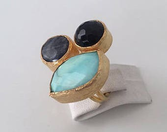 Triple Gold plated  Eagleeye,  Onyx  and  Chalchedony  ring
