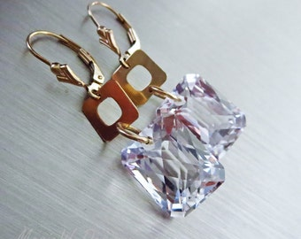 Superior Crystal Quartz-Geometric Hoops-14k Gold Fill Contemporary Dangle Earrings