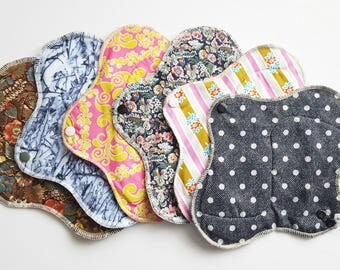 Set of 6 Mama Cloth Pad - Variety of prints HEAVY Cloth Mama Pad Postpartum . 10 inch FREE SHIPPING