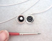 Tiny Sterling Silver Locket, Original Oil Painting, Fly Me to the Moon Tiny Art Necklace