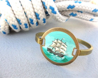 Hand-Painted Oil Enamel Ship Bracelet, Solid Brass Nautical Jewelry