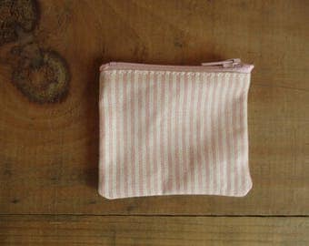 Pink Striped coin purse The Coin Collector by Gather and Bind mini zipper change pouch minimalist Flea Market cash fund purse Treasure hunt
