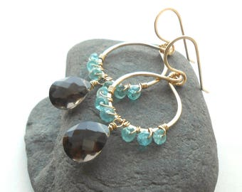 Gold Dangle Earrings, Crystal Earrings, Smokey Quartz, Apatite, Gold Filled Wire Work Jewelry