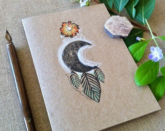 Moon Dream Hand Printed and Hand Coloured Artisan Gift Card on Recycled Kraft Card with Swarovski Embellishment
