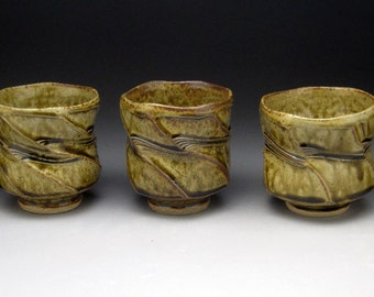 Ashglazed Multi-Faceted  Yunomi (Tea Cup or Wine Cup) One of Three Cups In Photo.