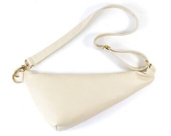 Emi - Handmade Cream Leather Shoulder Bag Fanny pack Zip Pouch Purse