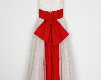 1950's Polka Dot Tulle and Satin Gown