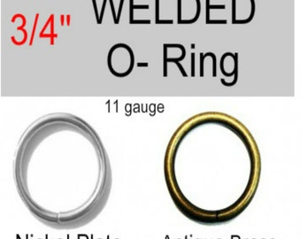 "20 PIECES - 3/4"" - WELDED, Steel O Rings, 3/4 inch, Nickel Plate or Antique Brass Finish - 11 Gauge"