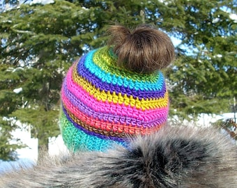 Bun Beanie - Pony Tail Hat - Messy Bun Hat - Womens Beanie - Messy Hair Hat -Multi Stripe Boardwalk color - FREE laundry bag - Ready To Ship