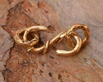 Gold Bronze Artisan S Hook Clasp with Attachment Rings, FN-432 with 331