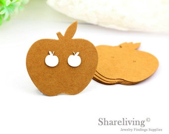 Kraft Paper Apple shape Earring Display Tags, Earring Display Cards, Earring Holder,  Packaging, Blank Design Tag - EDC001B