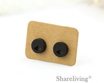 4pcs (2 pairs) Mini Wooden Geometry Stud Earring, Wood Cut Black Geometry  Post Earring - WED065