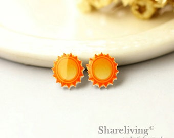 4pcs (2 pairs) Mini Sun Resin Charm / Pendant,  Stud Earring, Laser Cut Tiny Sunny Perfect for Earring / Rings - YED007V