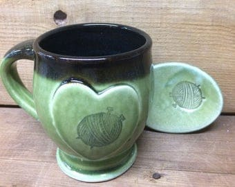 Yarn Ball Green Pottery Tea Mug and Dish Set