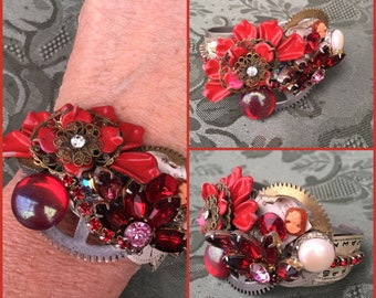 Jolly Red Assemblage Cuff Bracelet