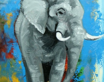 Elephant painting 4  18x24 inch original oil painting by Roz