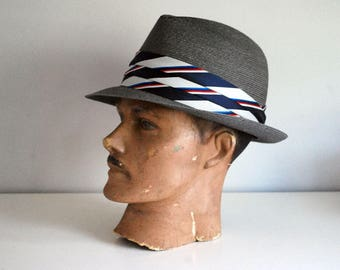 Milan Straw Fedora, 1960s Straw Mens Hat, Stevens Hemp Hat, Gray Mens Fashion, Size 7 Medium, Blue Striped Hat Band, Retro Mens Accessories