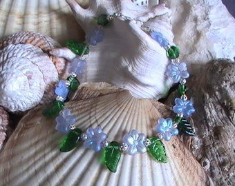 Flower Bracelet ~ Flower Anklet ~ Purple Pansy Jewelry ~ Custom Size Jewelry Woman ~ Summer Jewelry ~ Purple Jewelry