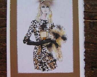 "Vintage Barbie note card ""Barbie et Leopard"""