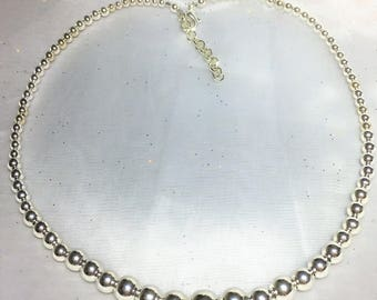 Graduated Silver Plated Round Adjustable Necklace #459