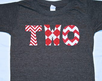 Boys red gray TWO Shirt for Second Birthday - size 2 short sleeve dark heather gray shirt with red chevron and argyle lettering
