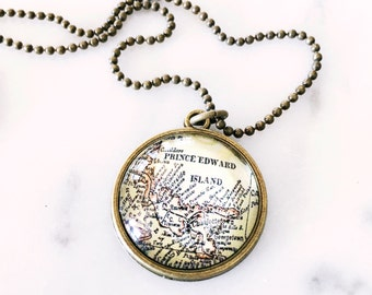 Prince Edward Island Map Necklace - Wanderlust - Travel