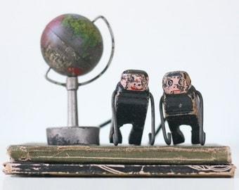 Vintage Monkeys, Handmade Wooden Painted Monkeys, Set of 2