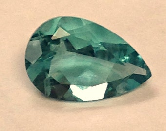 Vintage FLUORITE Blue Green Faceted Gemstone Pearshape 2.45cts 12x7mm fg213