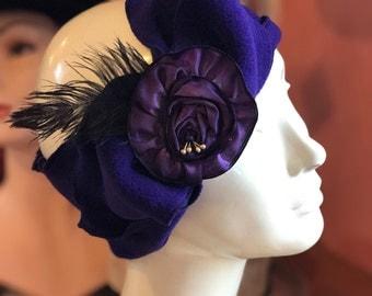 Flapper Polar Fleece Headband - Madeline- Blue Plum