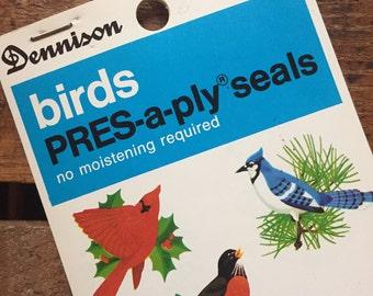 Vintage Dennison Bird Pres-a-ply Seals (Stickers, Decals) - Book of 48 Seals - Vintage Stickers, Vintage Bird Seals, Dennison Seals, Birds