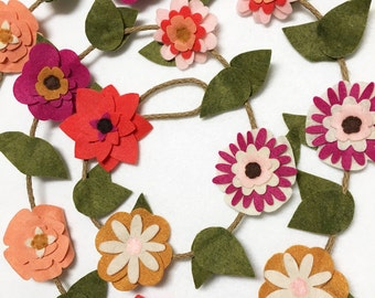 Flower Garland, Summer Flowers, Felt Flower Garland, Posable Twine, Room Decoration, Wedding, Party Decoration, Gift under 50