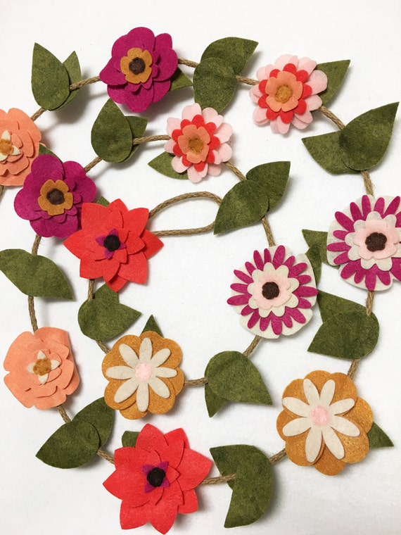 Flower Garland, Summer Flowers, Felt Flower Garland, Posable Twine, Tea Party Decor, Wedding and Party Decoration