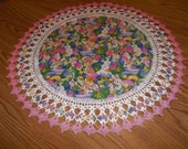 Crocheted, Easter Doily, Tulips, Rabbits, Easter Eggs, 20Inch, Fabric Doilies, Handmade, Pink Table Topper, Centerpiece, Crocheted Edge Gift