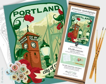 portland city of roses - 12x16 paint-by-number kit
