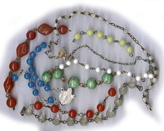 vintage rosary chain mother of pearl oval beads 10mm mother
