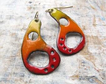 Colorful Boho earrings paisley dangle earrings Enamel earrings Hippie jewelry Bohemian jewelry