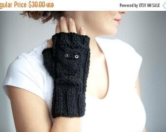 WINTER SALE Owl Black Fingerless Gloves - Mittens