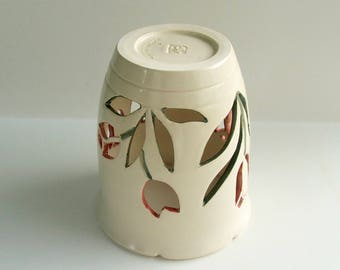 Ceramic Candle Holder/ Luminary Wheel Thrown, Hand Carved Tulips