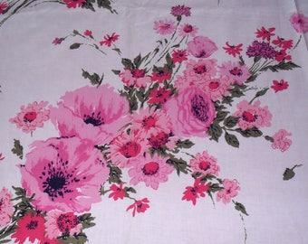 Vintage Pink Rose Green Black Flower Spray Fabric