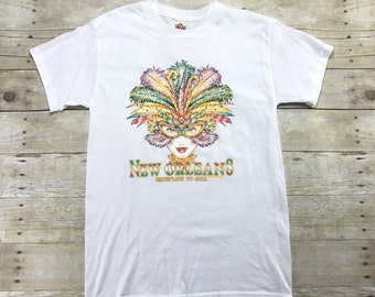 Vintage 1990s 90s New Orleans Birthplace of Jazz Mardi Gras Shirt Mens Retro Clothing Size Small