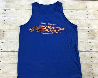 Vintage 1980s 80s Palm Springs Motorcycle Flame Print Blue Tank Top Mens Streetwear Size Large