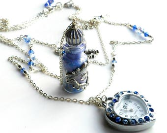 Alice in Wonderland Lupin Blue, Sapphire and Silver 'Drink Me' Bottle Watch Key Triple Necklace