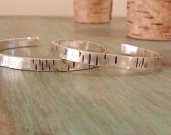 Birch Bangle - Birch Bark Bangle - Cuff Bracelet - Silver Birch Bracelet